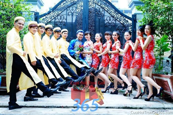 dịch vụ cưới hỏi trọn gói - Cho thuê đội ngũ nhân sự nam nữ bưng mâm quả màu đỏ vàng cho ngày đám cưới, lễ ăn BQNA21