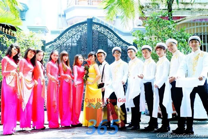 Cho thuê đội ngũ nhân sự nam nữ bưng quả với đồng phục áo dài hồng sen và trắng cho ngày đám cưới, lễ ăn BQNA22 : Mẫu cưới hỏi trọn gói 365 của công ty dịch vụ trang trí nhà tiệc cưới hỏi đẹp rẻ uy tín ở tại quận Tân Phú Sài Gòn TPHCM Gò Vấp