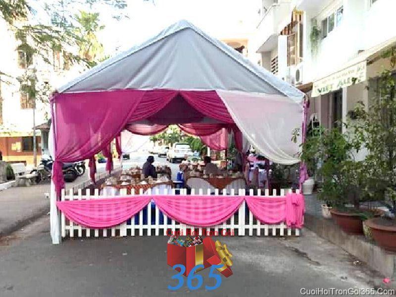 Cho thuê nhà tiệc khung rạp cưới màu hồng đậm đẹp làm lễ đãi tiệc ngày đám cưới RC23 : Mẫu cưới hỏi trọn gói 365 của công ty dịch vụ trang trí nhà tiệc cưới hỏi đẹp rẻ uy tín ở tại quận Tân Phú Sài Gòn TPHCM Gò Vấp