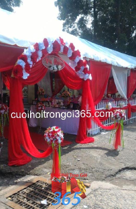 Cho thuê rạp đám cưới màu đỏ ở TPHCM RC29 : Mẫu cưới hỏi trọn gói 365 của công ty dịch vụ trang trí nhà tiệc cưới hỏi đẹp rẻ uy tín ở tại quận Tân Phú Sài Gòn TPHCM Gò Vấp