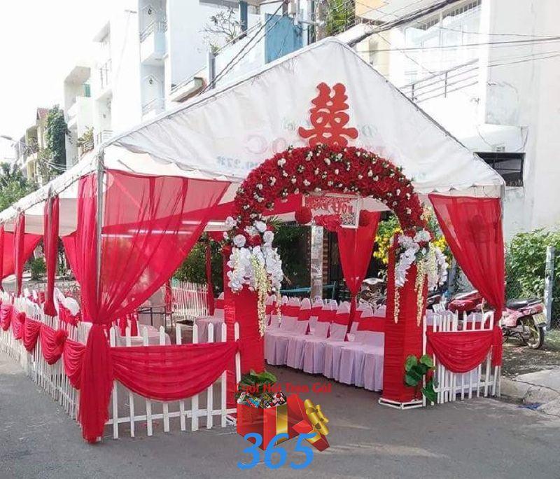 Cho thuê rạp đám cưới màu đỏ ở TPHCM RC30 : Mẫu cưới hỏi trọn gói 365 của công ty dịch vụ trang trí nhà tiệc cưới hỏi đẹp rẻ uy tín ở tại quận Tân Phú Sài Gòn TPHCM Gò Vấp