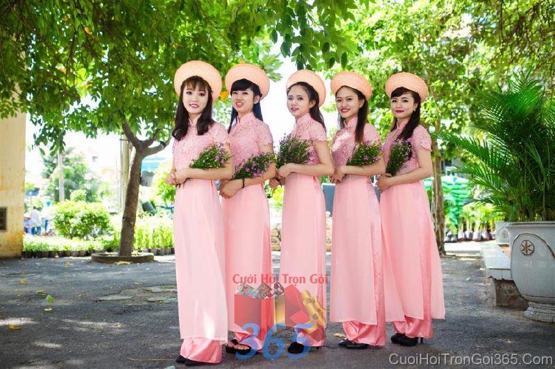 Cho thuê trang phục áo dài bưng quả nữ mới đẹp, dễ thương  DP46 : Mẫu cưới hỏi trọn gói 365 của công ty dịch vụ trang trí nhà tiệc cưới hỏi đẹp rẻ uy tín ở tại quận Tân Phú Sài Gòn TPHCM Gò Vấp