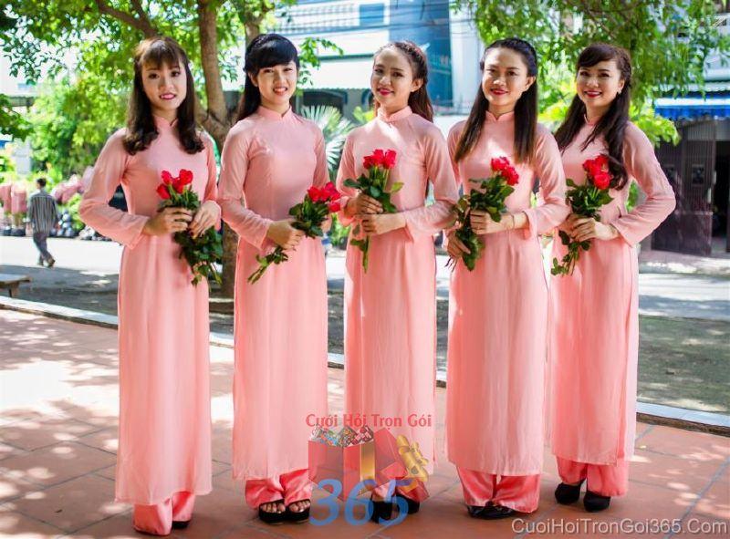 Cho thuê trang phục áo dài bưng quả nữ mới đẹp, dễ thương  DP47 : Mẫu cưới hỏi trọn gói 365 của công ty dịch vụ trang trí nhà tiệc cưới hỏi đẹp rẻ uy tín ở tại quận Tân Phú Sài Gòn TPHCM Gò Vấp