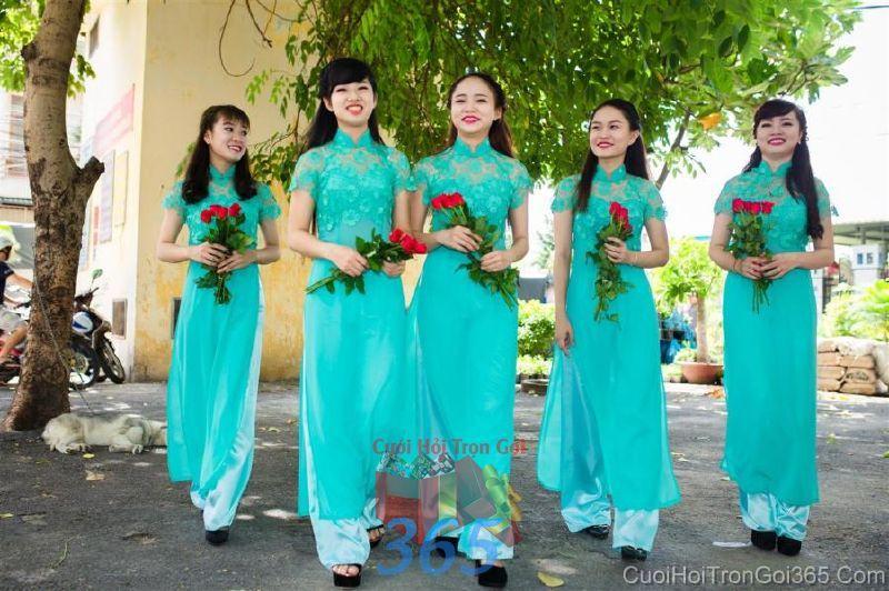 Cho thuê trang phục áo dài bưng quả nữ mới đẹp, dễ thương  DP48 : Mẫu cưới hỏi trọn gói 365 của công ty dịch vụ trang trí nhà tiệc cưới hỏi đẹp rẻ uy tín ở tại quận Tân Phú Sài Gòn TPHCM Gò Vấp