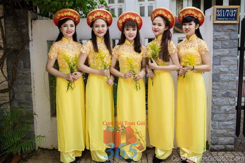 Cho thuê trang phục áo dài bưng quả nữ mới đẹp, dễ thương  DP49 : Mẫu cưới hỏi trọn gói 365 của công ty dịch vụ trang trí nhà tiệc cưới hỏi đẹp rẻ uy tín ở tại quận Tân Phú Sài Gòn TPHCM Gò Vấp
