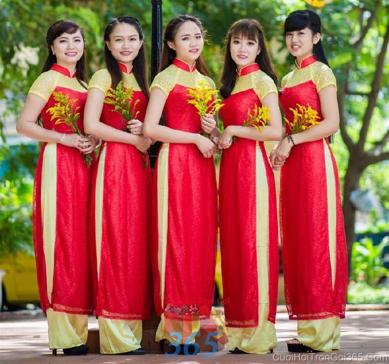 Cho thuê trang phục áo dài bưng quả nữ mới đẹp, dễ thương  DP50 : Mẫu cưới hỏi trọn gói 365 của công ty dịch vụ trang trí nhà tiệc cưới hỏi đẹp rẻ uy tín ở tại quận Tân Phú Sài Gòn TPHCM Gò Vấp