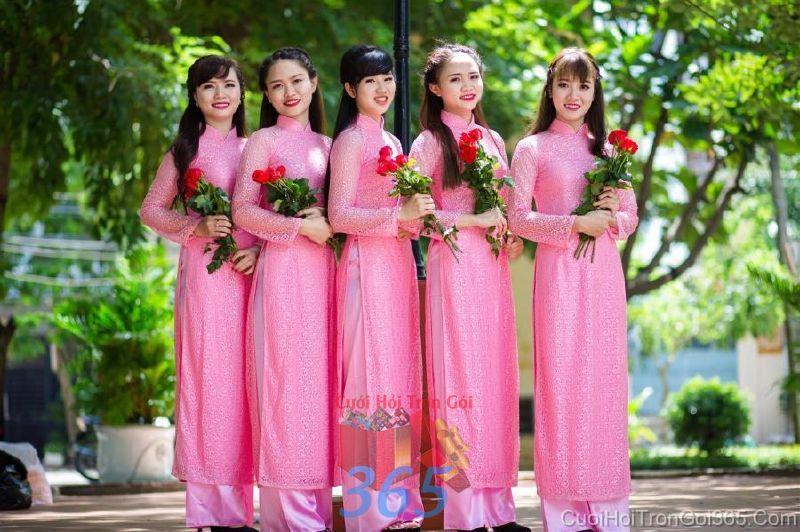 Cho thuê trang phục áo dài bưng quả nữ mới đẹp, dễ thương  DP52 : Mẫu cưới hỏi trọn gói 365 của công ty dịch vụ trang trí nhà tiệc cưới hỏi đẹp rẻ uy tín ở tại quận Tân Phú Sài Gòn TPHCM Gò Vấp