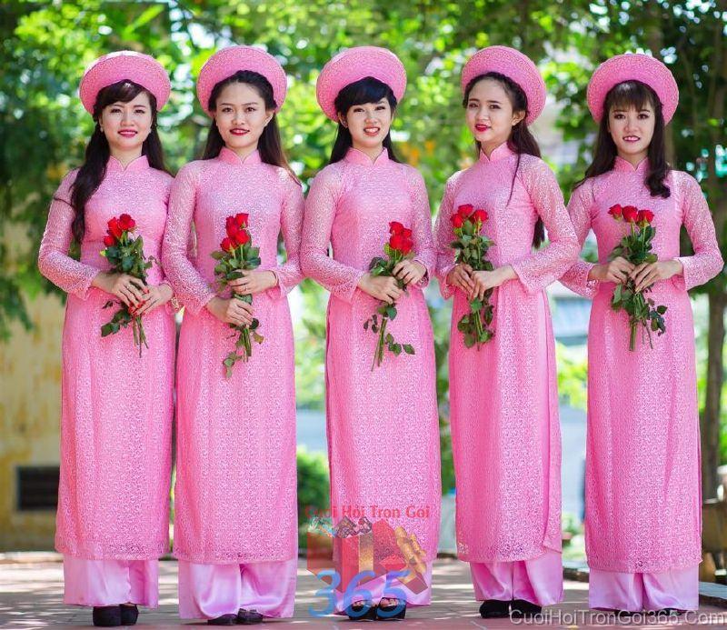 Cho thuê trang phục áo dài bưng quả nữ mới đẹp, dễ thương  DP53 : Mẫu cưới hỏi trọn gói 365 của công ty dịch vụ trang trí nhà tiệc cưới hỏi đẹp rẻ uy tín ở tại quận Tân Phú Sài Gòn TPHCM Gò Vấp