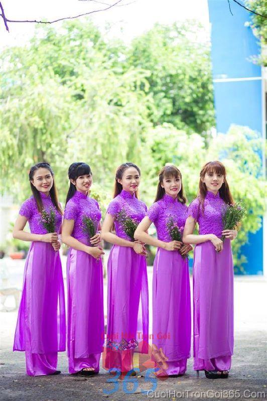 Cho thuê trang phục áo dài bưng quả nữ mới đẹp, dễ thương  DP55 : Mẫu cưới hỏi trọn gói 365 của công ty dịch vụ trang trí nhà tiệc cưới hỏi đẹp rẻ uy tín ở tại quận Tân Phú Sài Gòn TPHCM Gò Vấp