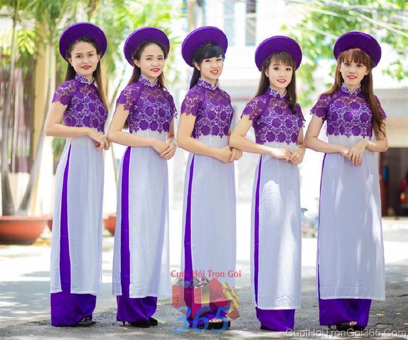 Cho thuê trang phục áo dài bưng quả nữ mới đẹp, dễ thương  DP56 : Mẫu cưới hỏi trọn gói 365 của công ty dịch vụ trang trí nhà tiệc cưới hỏi đẹp rẻ uy tín ở tại quận Tân Phú Sài Gòn TPHCM Gò Vấp