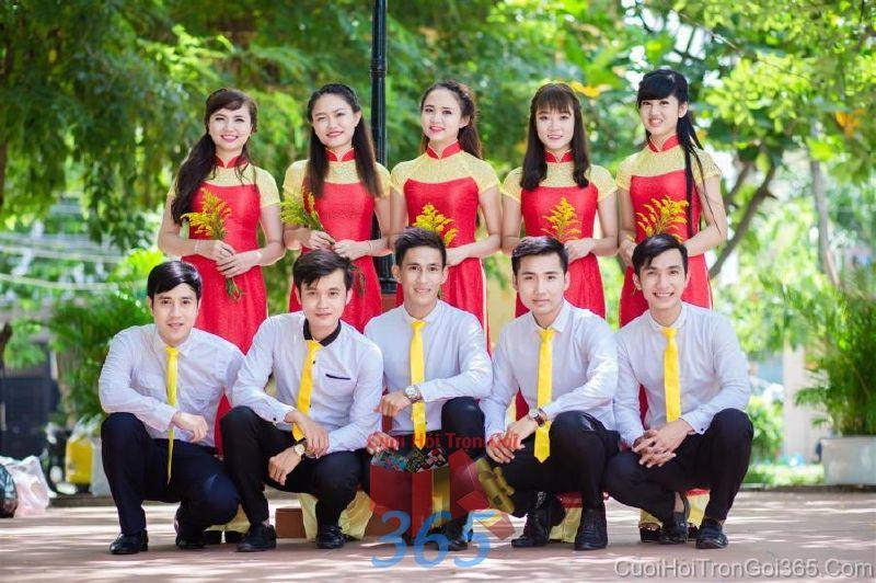 Cho thuê trang phục áo dài bưng quả nữ mới đẹp, dễ thương  DP59 : Mẫu cưới hỏi trọn gói 365 của công ty dịch vụ trang trí nhà tiệc cưới hỏi đẹp rẻ uy tín ở tại quận Tân Phú Sài Gòn TPHCM Gò Vấp