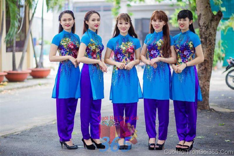 Cho thuê trang phục áo dài bưng quả nữ mới đẹp, dễ thương  DP60 : Mẫu cưới hỏi trọn gói 365 của công ty dịch vụ trang trí nhà tiệc cưới hỏi đẹp rẻ uy tín ở tại quận Tân Phú Sài Gòn TPHCM Gò Vấp
