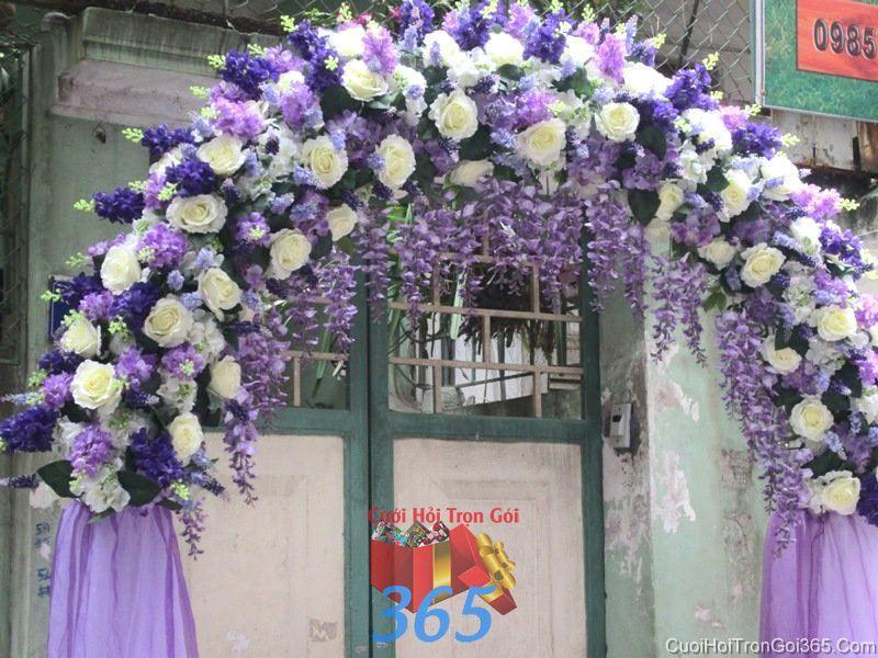 Cổng cưới hoa vải giả tông tím lãn mạn, rực rỡ cho thuê ngày đám cưới CHV21 : Mẫu cưới hỏi trọn gói 365 của công ty dịch vụ trang trí nhà tiệc cưới hỏi đẹp rẻ uy tín ở tại quận Tân Phú Sài Gòn TPHCM Gò Vấp