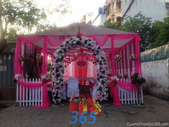 Cung cấp cho thuê rạp cưới hồng sen pha lê hàng rào với vải voan cao cấp hiện đại cho ngày đám cưới, lễ ăn hỏi, đính RC15 : Mẫu cưới hỏi trọn gói 365 của công ty dịch vụ trang trí nhà tiệc cưới hỏi đẹp rẻ uy tín ở tại quận Tân Phú Sài Gòn TPHCM Gò Vấp