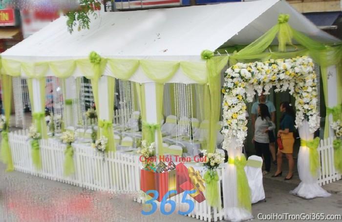 Cung cấp cho thuê rạp cưới xanh xốm pha lê hàng rào với vải voan cao cấp hiện đại cho ngày đám cưới, lễ ăn hỏi, đính RC20 : Mẫu cưới hỏi trọn gói 365 của công ty dịch vụ trang trí nhà tiệc cưới hỏi đẹp rẻ uy tín ở tại quận Tân Phú Sài Gòn TPHCM Gò Vấp