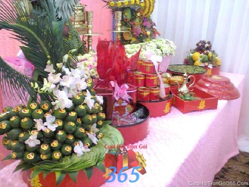 Mâm quả cưới hỏi tổng hợp trọn gói tươi ngon dâng tổ tiên ngày lễ đính hôn, đám  MQ44 : Mẫu cưới hỏi trọn gói 365 của công ty dịch vụ trang trí nhà tiệc cưới hỏi đẹp rẻ uy tín ở tại quận Tân Phú Sài Gòn TPHCM Gò Vấp