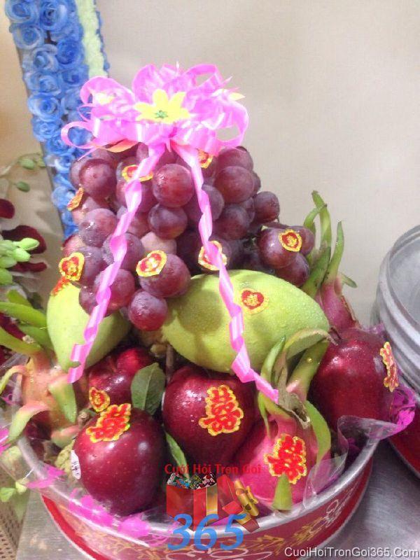 Mâm quả cưới hỏi trái cây tươi ngon làm lễ vật đính hôn, đám  MQ37 : Mẫu cưới hỏi trọn gói 365 của công ty dịch vụ trang trí nhà tiệc cưới hỏi đẹp rẻ uy tín ở tại quận Tân Phú Sài Gòn TPHCM Gò Vấp