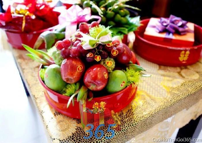 Mâm quả cưới hỏi trái cây tươi ngon trọn gói cho nghi lễ gia tiên ăn hỏi ngày đám  MQ28 : Mẫu cưới hỏi trọn gói 365 của công ty dịch vụ trang trí nhà tiệc cưới hỏi đẹp rẻ uy tín ở tại quận Tân Phú Sài Gòn TPHCM Gò Vấp