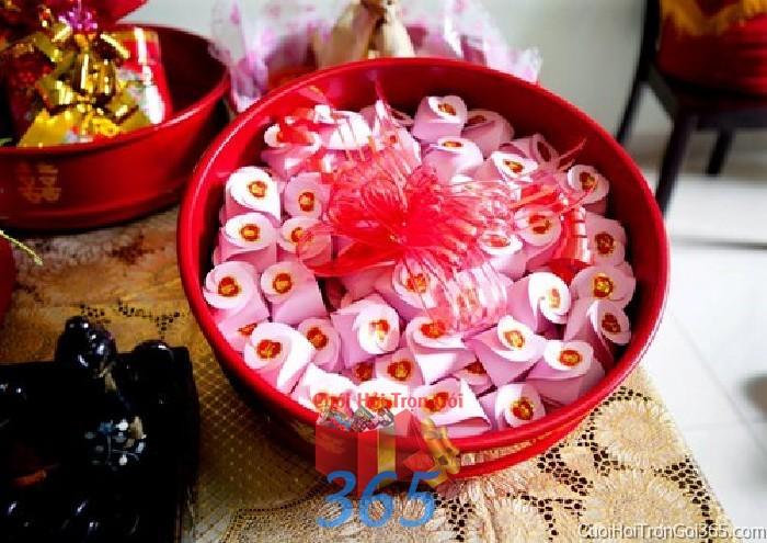 Mâm quả cưới hỏi trọn gói cho nghi lễ gia tiên ăn hỏi ngày đám  MQ32 : Mẫu cưới hỏi trọn gói 365 của công ty dịch vụ trang trí nhà tiệc cưới hỏi đẹp rẻ uy tín ở tại quận Tân Phú Sài Gòn TPHCM Gò Vấp