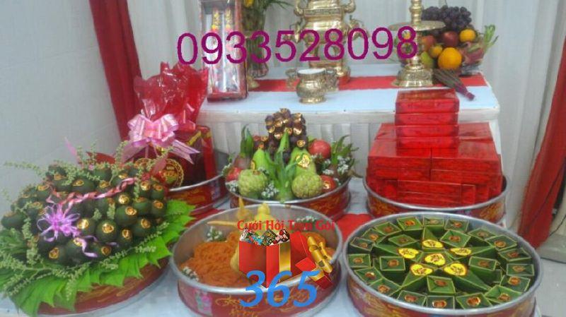 Mâm quả trọn gói trang trí nhà ngày đám cưới MQ51 : Mẫu cưới hỏi trọn gói 365 của công ty dịch vụ trang trí nhà tiệc cưới hỏi đẹp rẻ uy tín ở tại quận Tân Phú Sài Gòn TPHCM Gò Vấp