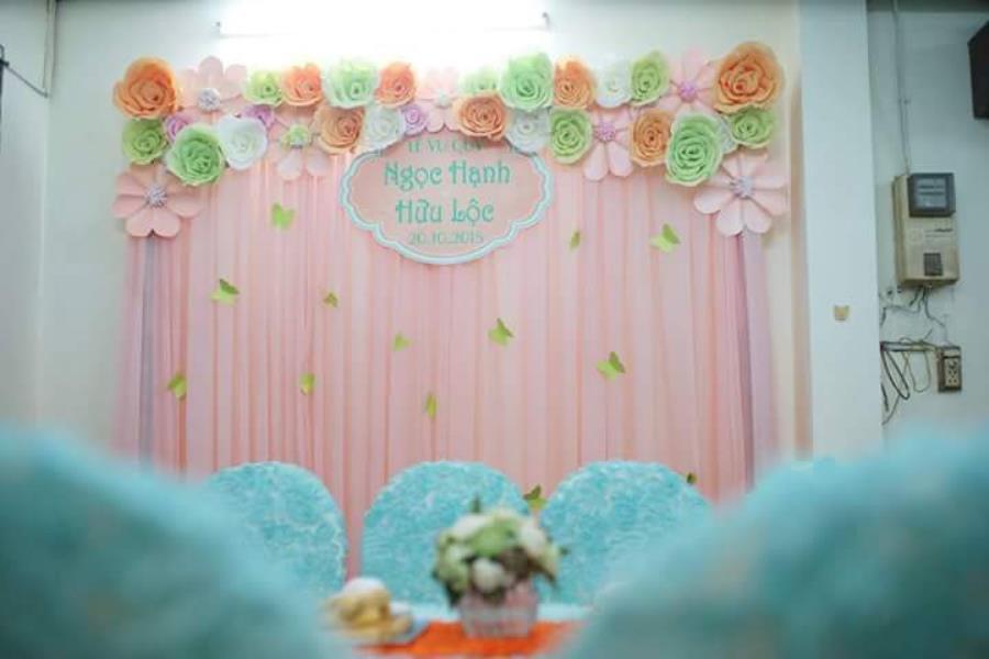 Phông ăn hỏi tông màu xanh đặc biết PC36 : Mẫu cưới hỏi trọn gói 365 của công ty dịch vụ trang trí nhà tiệc cưới hỏi đẹp rẻ uy tín ở tại quận Tân Phú Sài Gòn TPHCM Gò Vấp
