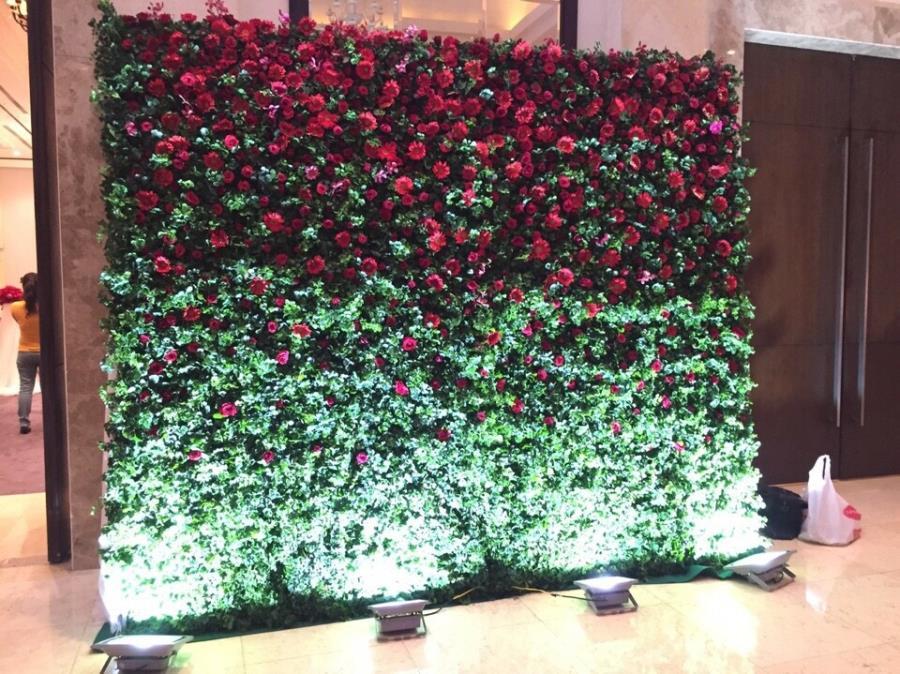 Phông cưới, backdrop chụp ảnh sử dụng hoa đồng tiền đỏ sáng rực với ánh đèn đẹp BDNH81 : Mẫu cưới hỏi trọn gói 365 của công ty dịch vụ trang trí nhà tiệc cưới hỏi đẹp rẻ uy tín ở tại quận Tân Phú Sài Gòn TPHCM Gò Vấp