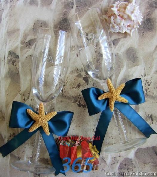 Phụ kiện ly đôi cô dâu chú rể màu xanh dương kết nơ sao biển dùng để trang trí bàn ký tên, không gian tiệc sang trọng ngày  PKC88 : Mẫu cưới hỏi trọn gói 365 của công ty dịch vụ trang trí nhà tiệc cưới hỏi đẹp rẻ uy tín ở tại quận Tân Phú Sài Gòn TPHCM Gò Vấp