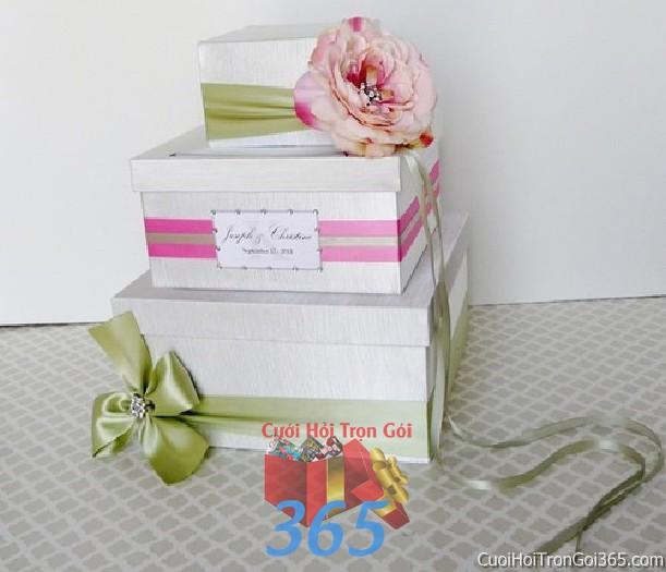 Phụ kiện thùng quà đựng tiền màu hồng phấn xanh cốm dễ thương dùng để trang trí bàn ký tên, không gian tiệc sang trọng ngày đám cưới tại nhà  PKC93 : Mẫu cưới hỏi trọn gói 365 của công ty dịch vụ trang trí nhà tiệc cưới hỏi đẹp rẻ uy tín ở tại quận Tân Phú Sài Gòn TPHCM Gò Vấp