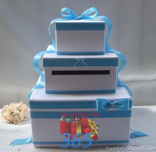 dịch vụ cưới hỏi trọn gói - Phụ kiện thùng quà đựng tiền màu xanh biển ngọt ngào dùng để trang trí bàn ký tên, không gian tiệc sang trọng ngày đám cưới tại nhà  PKC98