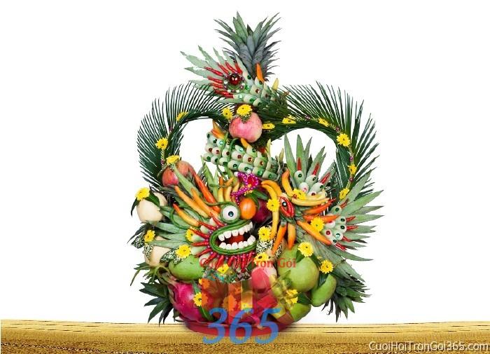 Rồng phụng long phượng đơn kết từ trái cây chưng đẹp bàn thờ gia tiên ngày lễ ăn hỏi đám  RPTC17 : Mẫu cưới hỏi trọn gói 365 của công ty dịch vụ trang trí nhà tiệc cưới hỏi đẹp rẻ uy tín ở tại quận Tân Phú Sài Gòn TPHCM Gò Vấp