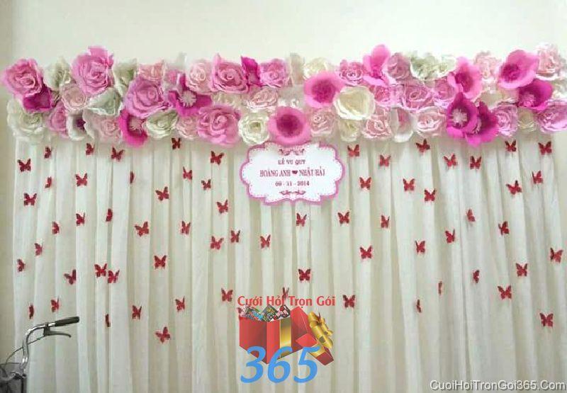 Trang trí backdrop hoa giấy để chụp hình, trang trí cho tiệc cưới nhà h BDNH60 : Mẫu cưới hỏi trọn gói 365 của công ty dịch vụ trang trí nhà tiệc cưới hỏi đẹp rẻ uy tín ở tại quận Tân Phú Sài Gòn TPHCM Gò Vấp