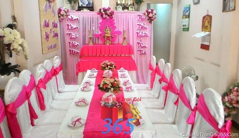 Trang trí nhà cưới hỏi màu sắc hồng ngọt ngào hài hòa cho ngày đám cưới TTNCH71 : Mẫu cưới hỏi trọn gói 365 của công ty dịch vụ trang trí nhà tiệc cưới hỏi đẹp rẻ uy tín ở tại quận Tân Phú Sài Gòn TPHCM Gò Vấp