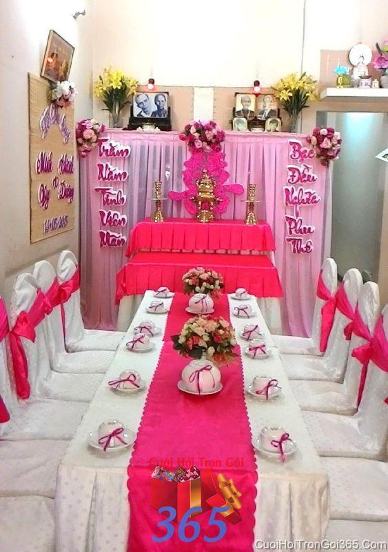 Trang trí nhà cưới hỏi tông màu hồng ngọt ngào và hài hỏa cho ngày đám cưới TTNCH72 : Mẫu cưới hỏi trọn gói 365 của công ty dịch vụ trang trí nhà tiệc cưới hỏi đẹp rẻ uy tín ở tại quận Tân Phú Sài Gòn TPHCM Gò Vấp