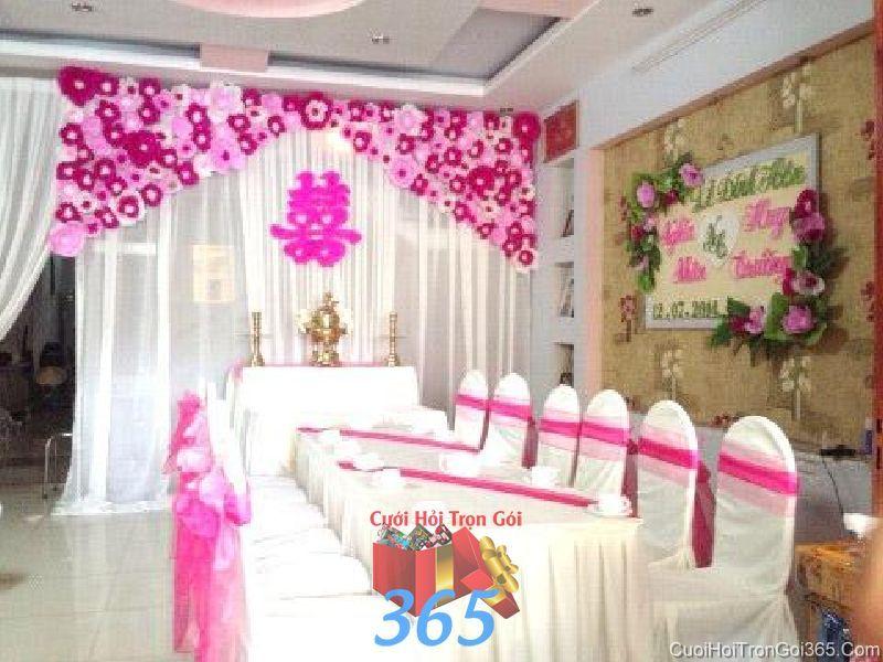 Trang trí nhà cưới hỏi tông màu hồng ngọt ngào với phông bàn thờ hoa giấy cho ngày đám cưới TTNCH73 : Mẫu cưới hỏi trọn gói 365 của công ty dịch vụ trang trí nhà tiệc cưới hỏi đẹp rẻ uy tín ở tại quận Tân Phú Sài Gòn TPHCM Gò Vấp