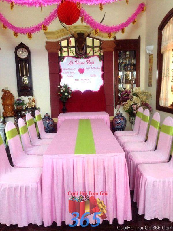 Trang trí nhà cưới hỏi tông màu hồng xanh là ấn tượng cho ngày đám cưới TTNCH75 : Mẫu cưới hỏi trọn gói 365 của công ty dịch vụ trang trí nhà tiệc cưới hỏi đẹp rẻ uy tín ở tại quận Tân Phú Sài Gòn TPHCM Gò Vấp