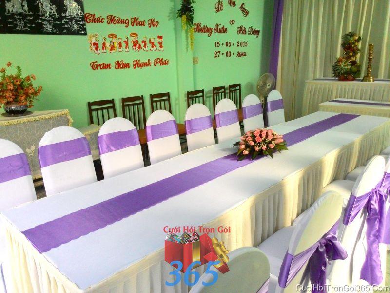 Trang trí nhà cưới hỏi tông màu kem tím cho ngày lễ đính hôn, ăn hỏi gia tiên, đám  TTNCH76 : Mẫu cưới hỏi trọn gói 365 của công ty dịch vụ trang trí nhà tiệc cưới hỏi đẹp rẻ uy tín ở tại quận Tân Phú Sài Gòn TPHCM Gò Vấp