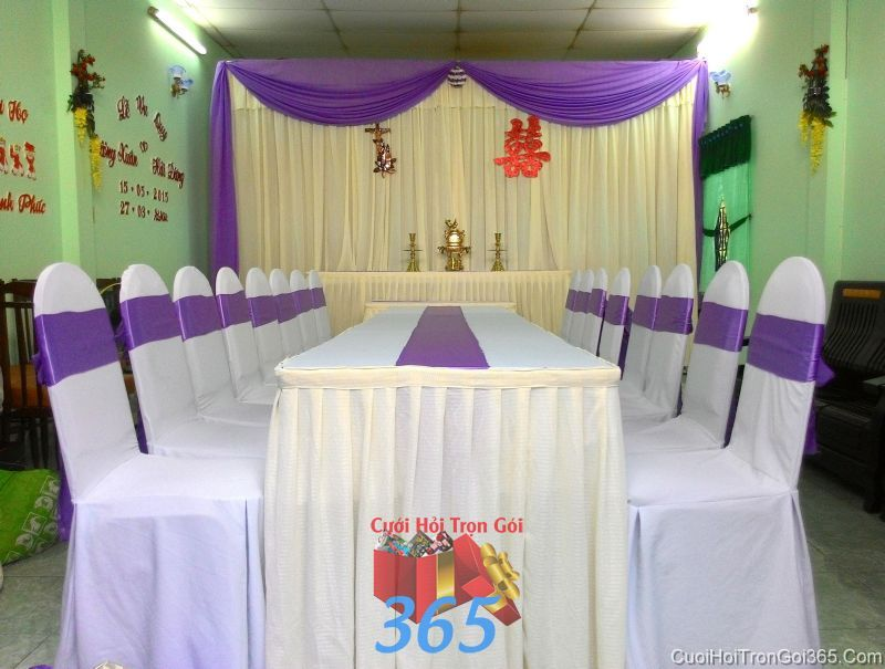 Trang trí nhà cưới hỏi tông màu kem tím thang cho ngày lễ đính hôn, ăn hỏi gia tiên, đám  TTNCH77 : Mẫu cưới hỏi trọn gói 365 của công ty dịch vụ trang trí nhà tiệc cưới hỏi đẹp rẻ uy tín ở tại quận Tân Phú Sài Gòn TPHCM Gò Vấp