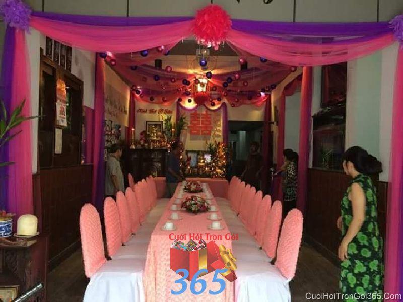 Trang trí nhà cưới hỏi tông màu tím hồng lãng mạn cho ngày đám cưới TTNCH80 : Mẫu cưới hỏi trọn gói 365 của công ty dịch vụ trang trí nhà tiệc cưới hỏi đẹp rẻ uy tín ở tại quận Tân Phú Sài Gòn TPHCM Gò Vấp