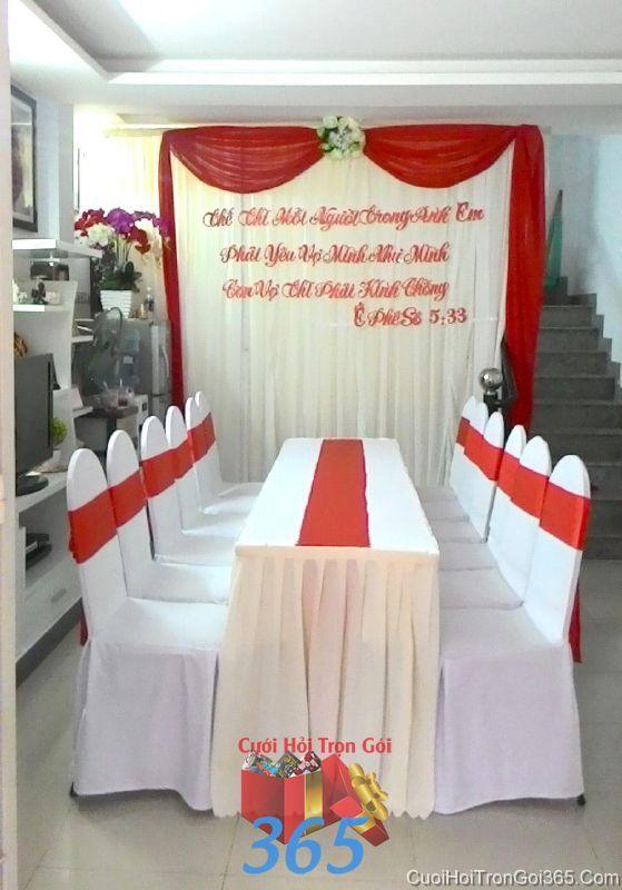 Trang trí nhà cưới hỏi tông màu trắng đỏ trag trọng cho ngày đám cưới TTNCH79 : Mẫu cưới hỏi trọn gói 365 của công ty dịch vụ trang trí nhà tiệc cưới hỏi đẹp rẻ uy tín ở tại quận Tân Phú Sài Gòn TPHCM Gò Vấp