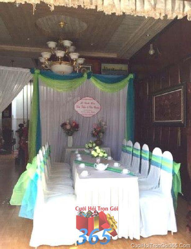Trang trí nhà cưới hỏi tông màu xanh trẻ trung cho ngày đám cưới TTNCH83 : Mẫu cưới hỏi trọn gói 365 của công ty dịch vụ trang trí nhà tiệc cưới hỏi đẹp rẻ uy tín ở tại quận Tân Phú Sài Gòn TPHCM Gò Vấp