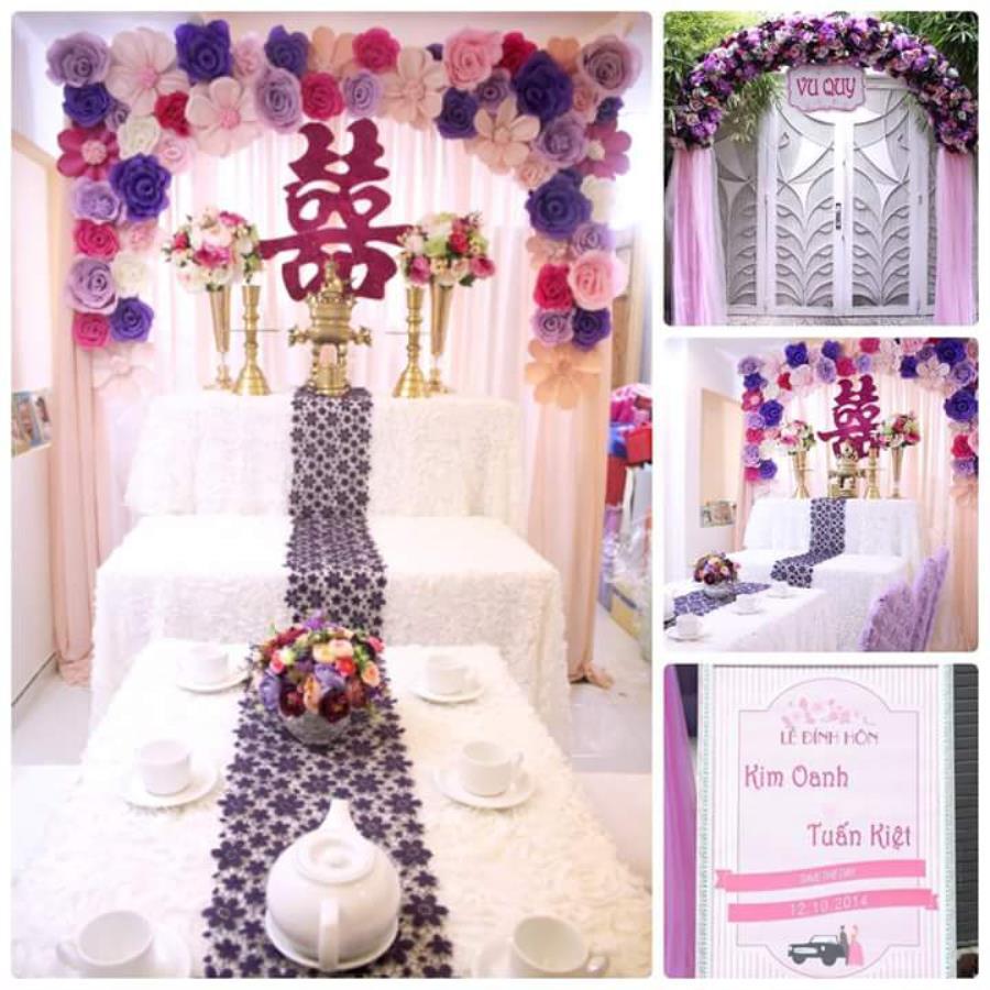 Trang trí nhà đám cưới, đám hỏi tông màu hồng tím lãng mạn TTNCH116 : Mẫu cưới hỏi trọn gói 365 của công ty dịch vụ trang trí nhà tiệc cưới hỏi đẹp rẻ uy tín ở tại quận Tân Phú Sài Gòn TPHCM Gò Vấp
