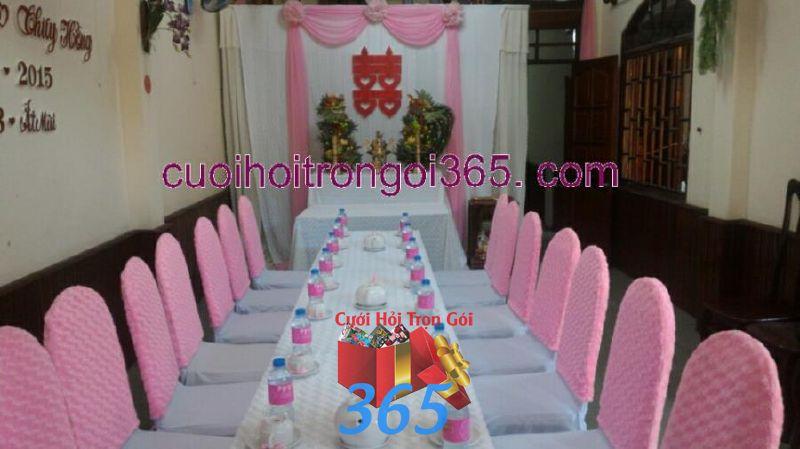 Trang trí nhà đám cưới tông màu hồng phấn TTNCH108 : Mẫu cưới hỏi trọn gói 365 của công ty dịch vụ trang trí nhà tiệc cưới hỏi đẹp rẻ uy tín ở tại quận Tân Phú Sài Gòn TPHCM Gò Vấp