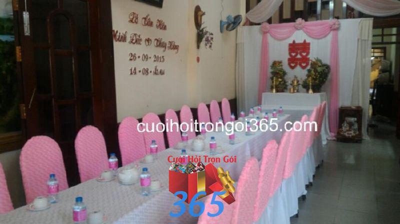 Trang trí nhà đám cưới tông màu hồng phấn TTNCH109 : Mẫu cưới hỏi trọn gói 365 của công ty dịch vụ trang trí nhà tiệc cưới hỏi đẹp rẻ uy tín ở tại quận Tân Phú Sài Gòn TPHCM Gò Vấp