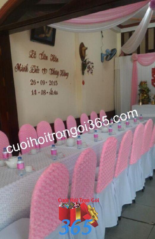 Trang trí nhà đám cưới tông màu hồng phấn TTNCH110 : Mẫu cưới hỏi trọn gói 365 của công ty dịch vụ trang trí nhà tiệc cưới hỏi đẹp rẻ uy tín ở tại quận Tân Phú Sài Gòn TPHCM Gò Vấp