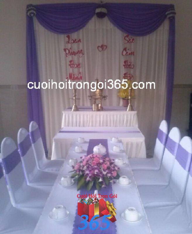 Trang trí nhà đám cưới tông màu TTNCH112 : Mẫu cưới hỏi trọn gói 365 của công ty dịch vụ trang trí nhà tiệc cưới hỏi đẹp rẻ uy tín ở tại quận Tân Phú Sài Gòn TPHCM Gò Vấp