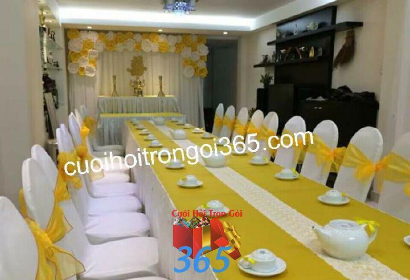 Trang trí nhà đám cưới tông màu  TTNCH113 : Mẫu cưới hỏi trọn gói 365 của công ty dịch vụ trang trí nhà tiệc cưới hỏi đẹp rẻ uy tín ở tại quận Tân Phú Sài Gòn TPHCM Gò Vấp