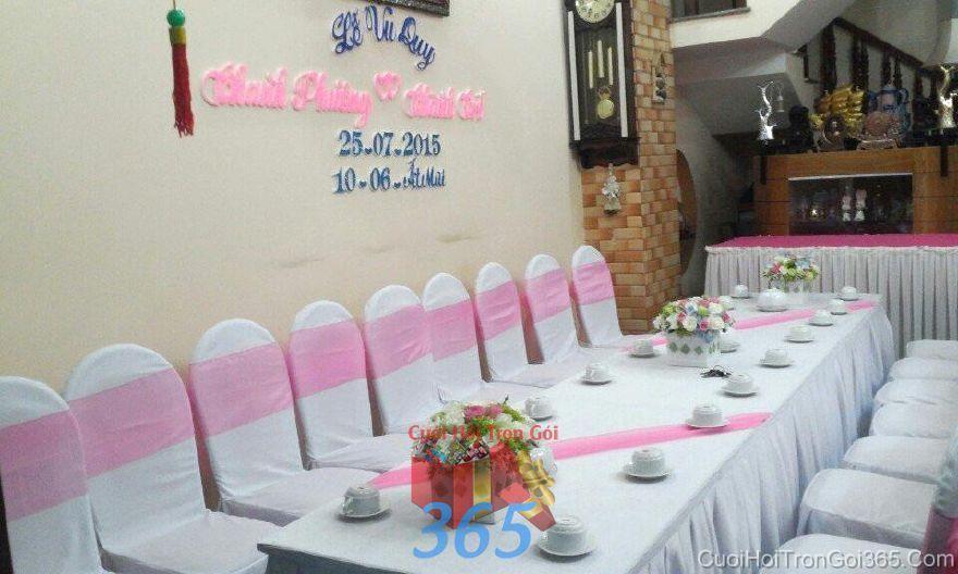 Cho thuê bàn ghế hai họ trang trí lễ gia tiên màu hồng  BG19 : Mẫu cưới hỏi trọn gói 365 của công ty dịch vụ trang trí nhà tiệc cưới hỏi đẹp rẻ uy tín ở tại quận Tân Phú Sài Gòn TPHCM Gò Vấp
