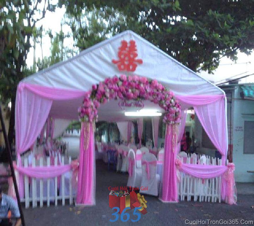 Cho thuê rạp cưới mẫu voan, hàng rào tông hồng  RC26 : Mẫu cưới hỏi trọn gói 365 của công ty dịch vụ trang trí nhà tiệc cưới hỏi đẹp rẻ uy tín ở tại quận Tân Phú Sài Gòn TPHCM Gò Vấp