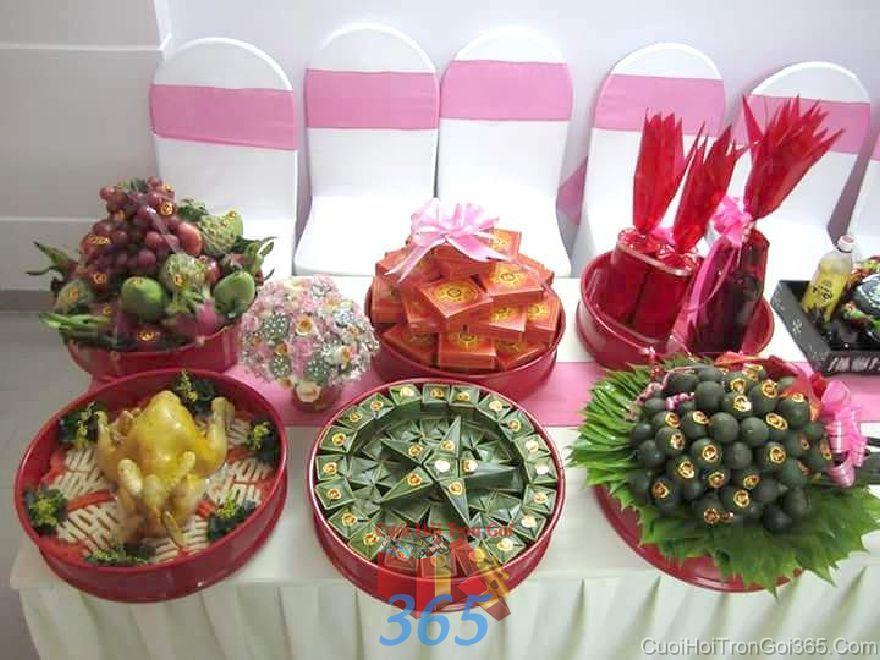 Dịch vụ mâm quả ngày cưới trọn gói bộ 6 MQ48 : Mẫu cưới hỏi trọn gói 365 của công ty dịch vụ trang trí nhà tiệc cưới hỏi đẹp rẻ uy tín ở tại quận Tân Phú Sài Gòn TPHCM Gò Vấp