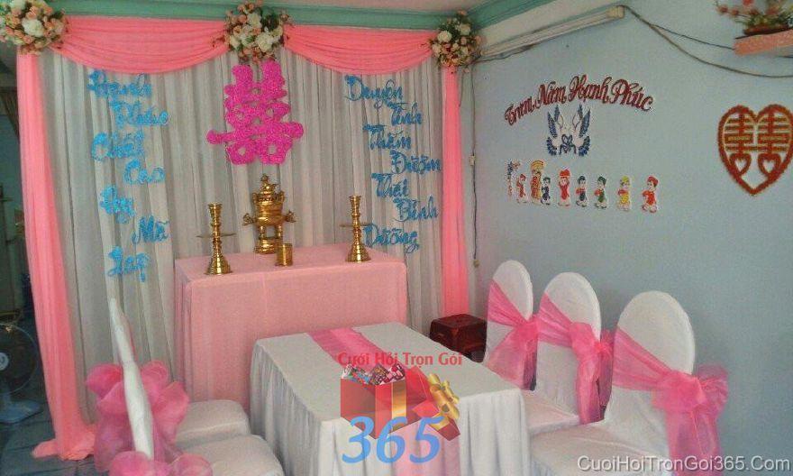 Trang trí nhà ngày đám cưới hỏi tông hồng  TTNCH91 : Mẫu cưới hỏi trọn gói 365 của công ty dịch vụ trang trí nhà tiệc cưới hỏi đẹp rẻ uy tín ở tại quận Tân Phú Sài Gòn TPHCM Gò Vấp